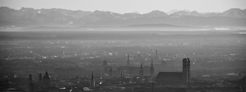 Munich Skyline B&W
