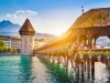 Historic town of Luzern with Chapel Bridge at sunset, Switzerland