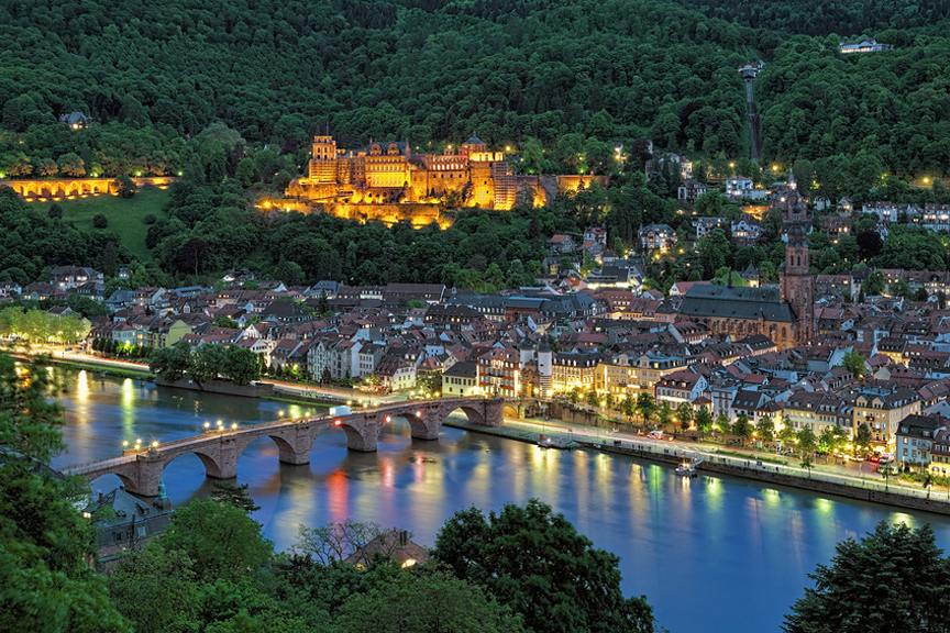 Evening view of Heidelberg Old Town